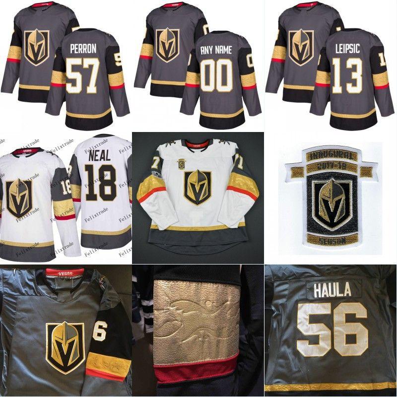 88764a01b41 2019 2017 18 Inaugural Season 100th Patch Vegas Golden Knights 56 Erik  Haula 13 Brendan Leipsic 18 James Neal 57 David Perron Hockey Jersey From  Felixtrade