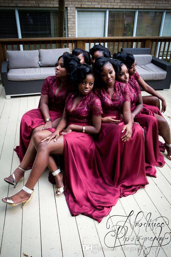 New Red Lace uma linha longa da dama de honra vestidos de seda V Neck High Side Dividir Backless Formal Evening Vestidos Pageant Partido Dresses Prom Dress