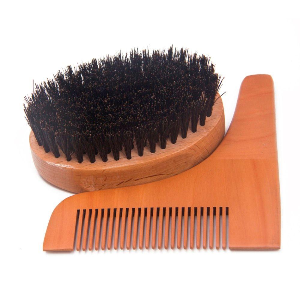 3PCS Men s Beard Wood Shaping Tool Kit Set Round Boar Bristle Shaving Brush  Mustache Beard Comb Male Facial Beard Cleaning Tool
