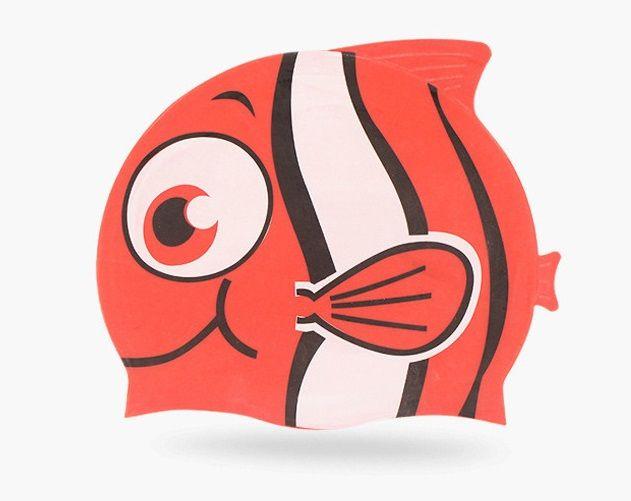 Kids Fun Silicone Swim Cap for Boys and Girls - Cartoon Design Goldfish & Minnows For 3-12 Years