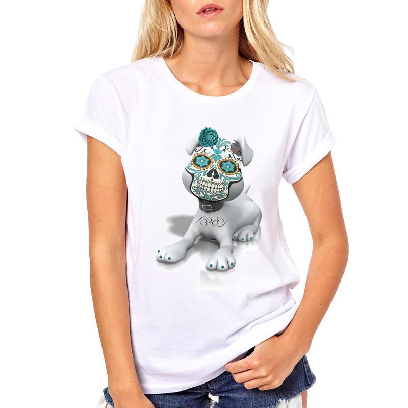 Compre Camiseta De Mujer Harajuku Camiseta Manga Corta Para Mujeres Ropa De  Marca Tops Casuales 2018 Streetwear Máscara De Calavera Perro Hip Hop  Camiseta A ... d35944d62d7