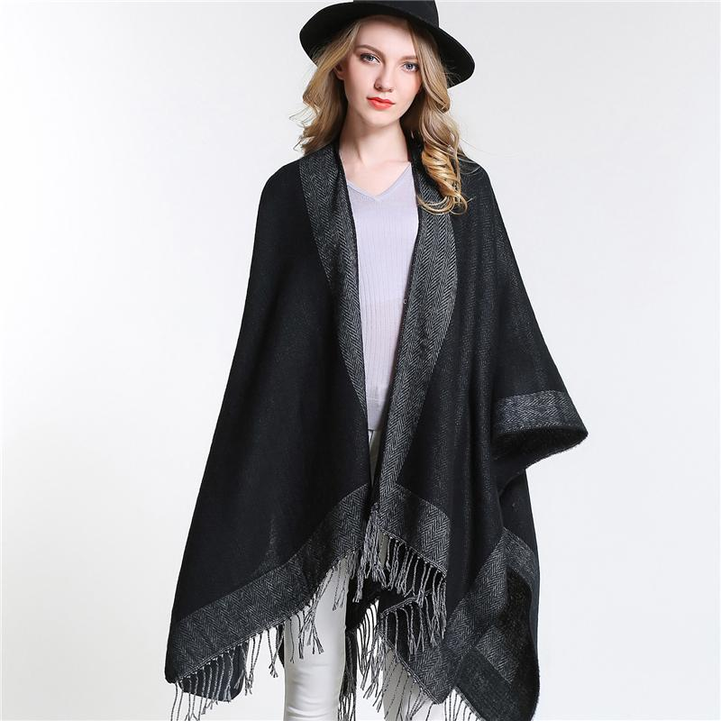 [SUMEIKE] 2018 Women Oversized Knitted Cashmere Poncho Capes Duplex Winter Shawl Cardigans Sweater Coat for Women