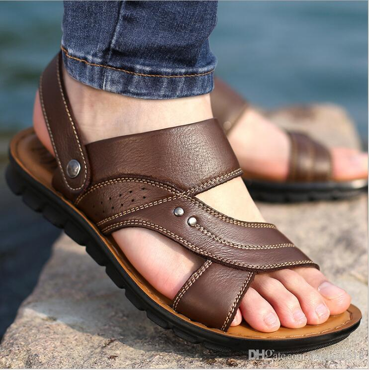 b0c891660f5 Super Quality Summer Style Men Sandals Genuine Leather Sandals Men Outdoor  Casual Beach Sandals Summer Flats Shoes Mens Sandals Reef Sandals From  Fadacai518 ...