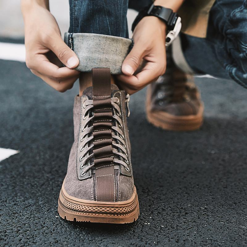 bf2620a5e2306 Fashion Sneakers Men Work Shoes Vintage Handmade Casual Shoes Brand High  Quality Lace Up Trend Locomotive Zapatos Hombre Designer Shoes Rain Boots  For Women ...