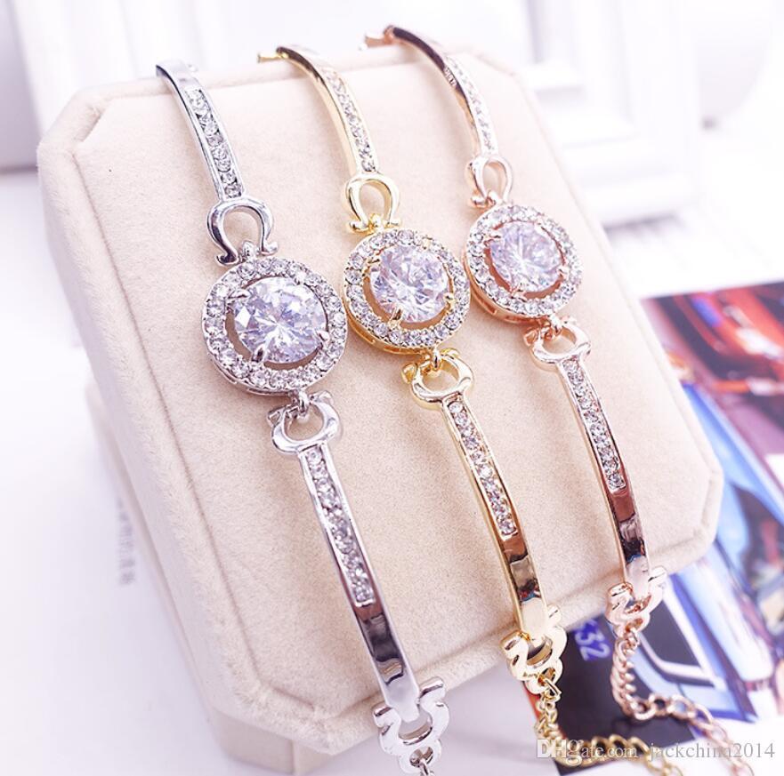 Nouvelle Arrivée Coréenne Mignon Bijoux De Luxe 18 K BlancRoseGold Rempli Multi Couleur CZ Cristal Chaude Femmes Bracelet Chaîne pour Cadeau des Amants