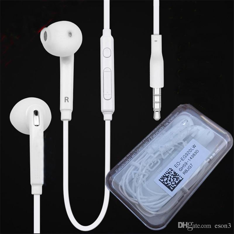 Top Quality S6 fones de ouvido fone de ouvido em ouvido Headset Fone de ouvido com Mic Volume Control For Samsung S5 S7 S6