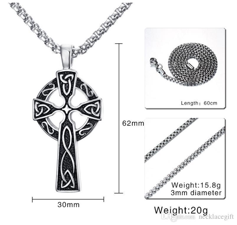 Tanrı kolye Viking Çapraz Kolye Kolye 18 K Altın Kaplama / Paslanmaz Çelik Odin Üçlü Horn Kelt Çapraz Hıristiyan Takı Mükemmel Hediyeler