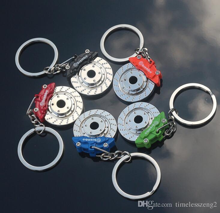 Car Réaménagement Disc Pompe de frein Forme Chaînes Métal clés Hub Disque de frein style taille anneau de suspension clé Pendentif