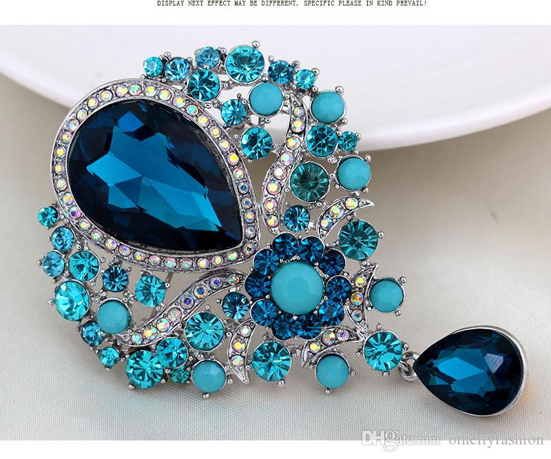 Large Size Colorful Rhinestone Champagne Crystal Brooch Scarf Buckle Wedding Bouquet Brooches Pin Wholesale Cheap Price New Design