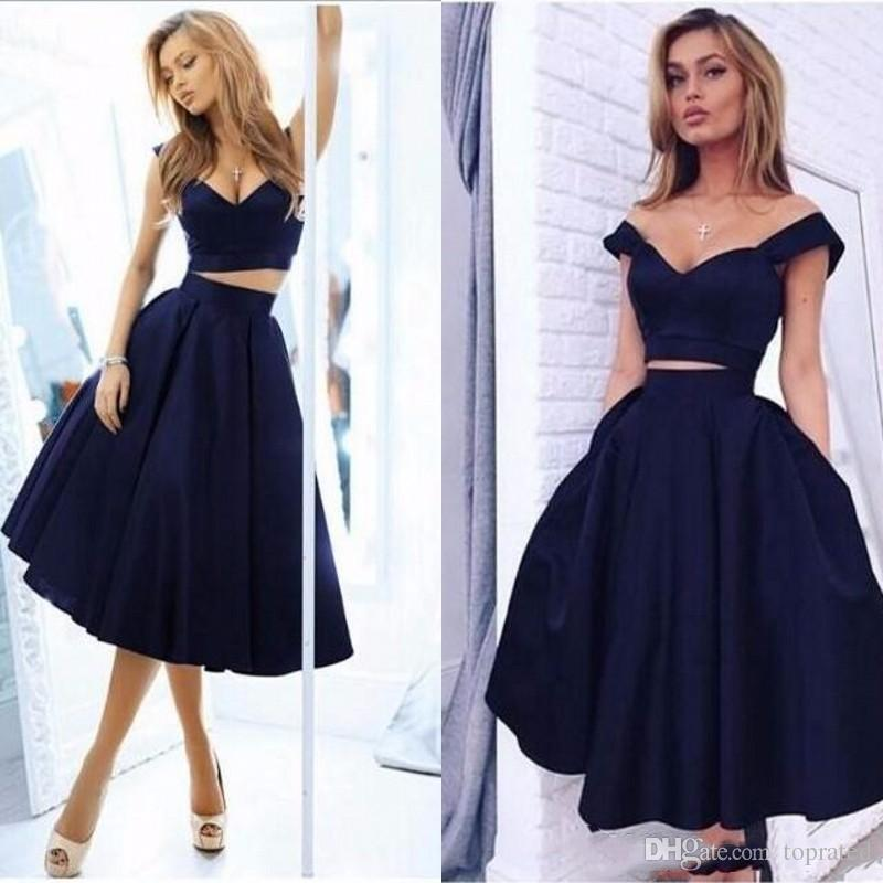 46a51365e45 2018 Elegant Navy Blue Two Piece Tea Length Prom Dresses Simple V Neck Off  The Shoulder Satin A Line Special Occasion Homecoming Dress Cheap Free Prom  ...