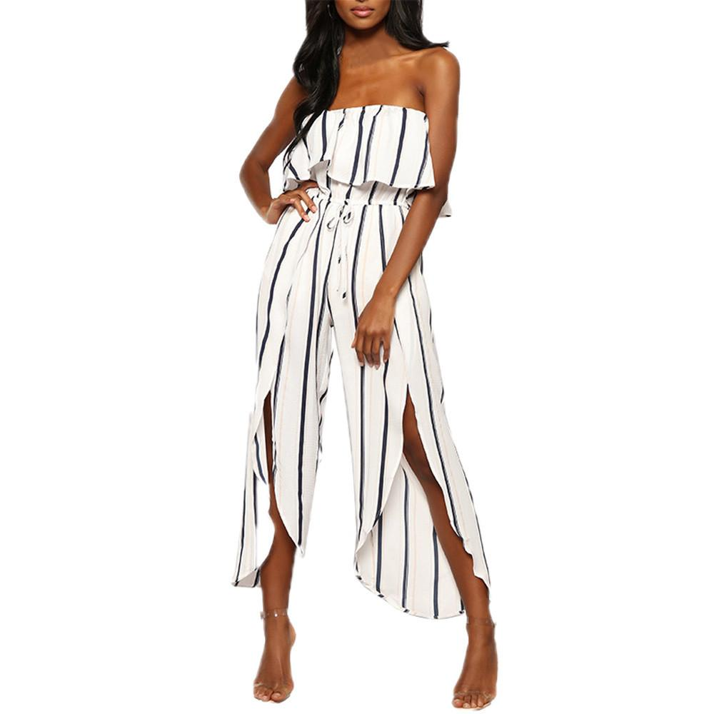 63bfcd1cd96 2019 2018 Fashion Women Ruffled Tube Top Sexy Off The Shoulder Reffle  Striped Irregular Playsuit Party Clubwear Jumpsuit  0807 From Lucycloth