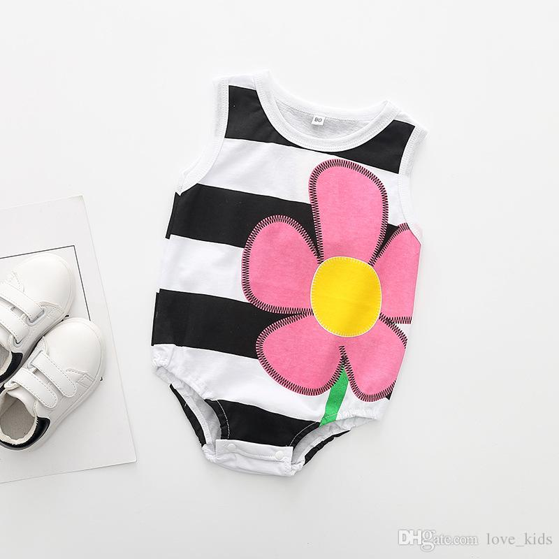 Newborn summer rompers sleeveless fruit series printing baby's cotton one-piece suits toddler infant jumpsuits kids clothing top quality