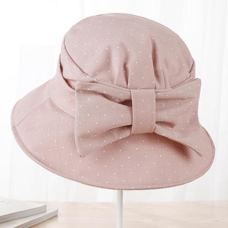 7de403b8d9b Summer Hats for Women Dot Bow Cotton Wide Brim Chapeau Femme Beach Hat  Foldable UV Protect Travel Ladies Casual Cap Bucket Hats Sun Hats Cheap Sun  Hats ...