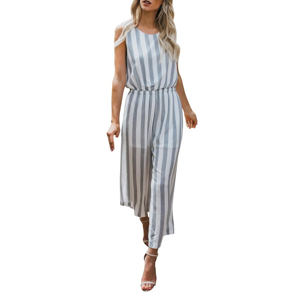 d1ed7af8f8d 2019 Elegant Striped Sexy Sleeveless Rompers Womens Jumpsuit Backless  Female Wide Legs Jumpsuits Casual Beach Summer Overalls 2018 From Alberty