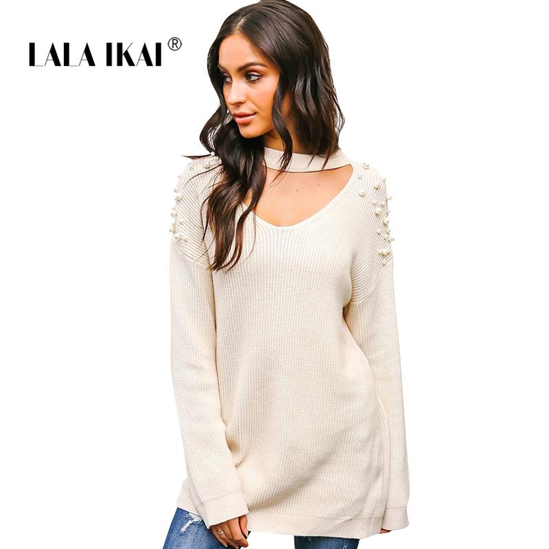 d341445a9520 LALAIKAI 2018 Fashion Women Sweaters Hand Beading V-Neck Female ...