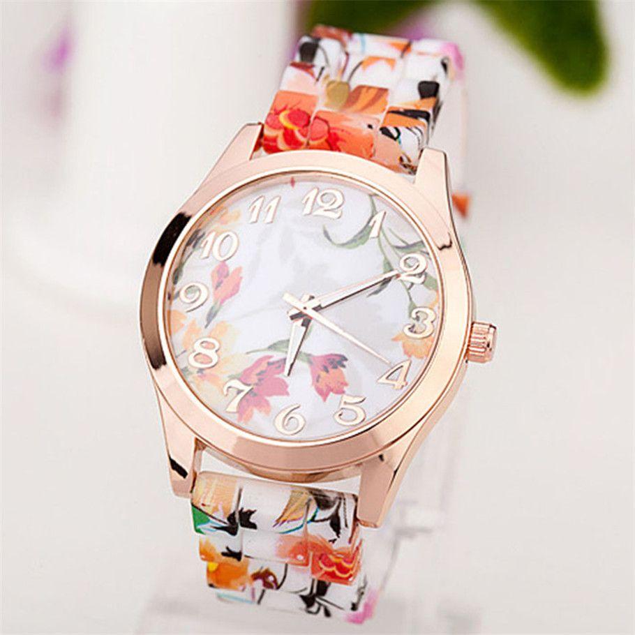 db66a68898f Compre A Faixa Floral Esplêndida Olha O Relógio De Pulso Análogo Dos  Esportes De Quartzo Do Relógio De Borracha Das Mulheres De Mart12
