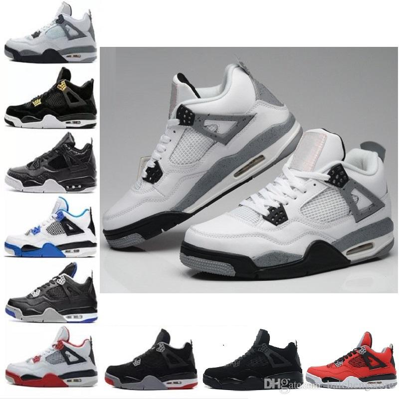 bcdf02bd53b 2018 4 4s Basketball Shoes Men Pure Money Royalty White Cement Raptors  Black Cat Bred Fire Red Mens Trainers Sports Sneakers Size 8 13 Sneakers  Men Buy ...