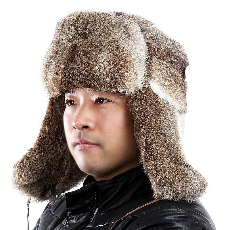 a258b8c47df7 2019 Men Fur Bomber Hats Autumn Winter Genuine Rabbit Fur Caps With Earflap Lei  Feng Cap For Russin Men Gray Orange Warm HatsH206 From Hiramee, ...