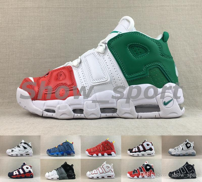 2c9c8bcf41 New air more uptempo 96 Italy QS Black White Doernbecher Tri-color Bulls  Chrome Mens Basketball Shoes Scottie Pippen Sports shoes Sneakers