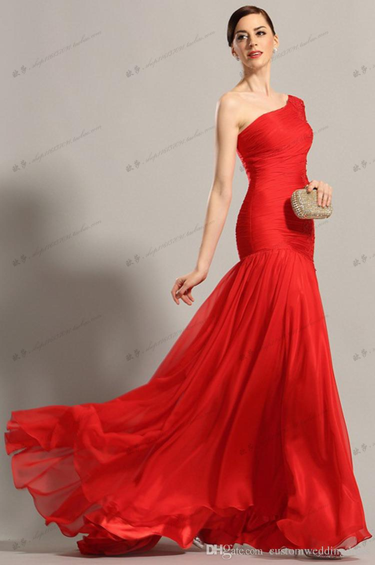 red chiffon long Prom Scoop Vestidos De Baile Sheer Top Party Gown lace Graduation sexy one shoulder mother of the bride dress evening dress