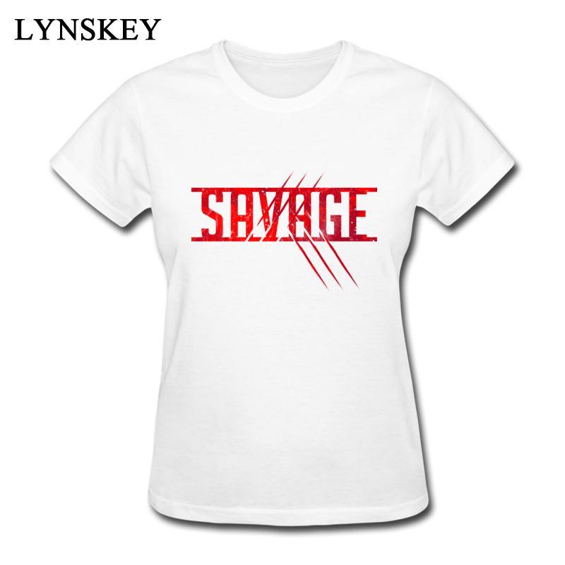 8e8fc078f Women's Tee Lynskey Gift Female Savage Red T Shirts Plain Summer / Fall  Short Sleeve Round Collar 100% Cotton Tops Shirts Printed Tee Shirt