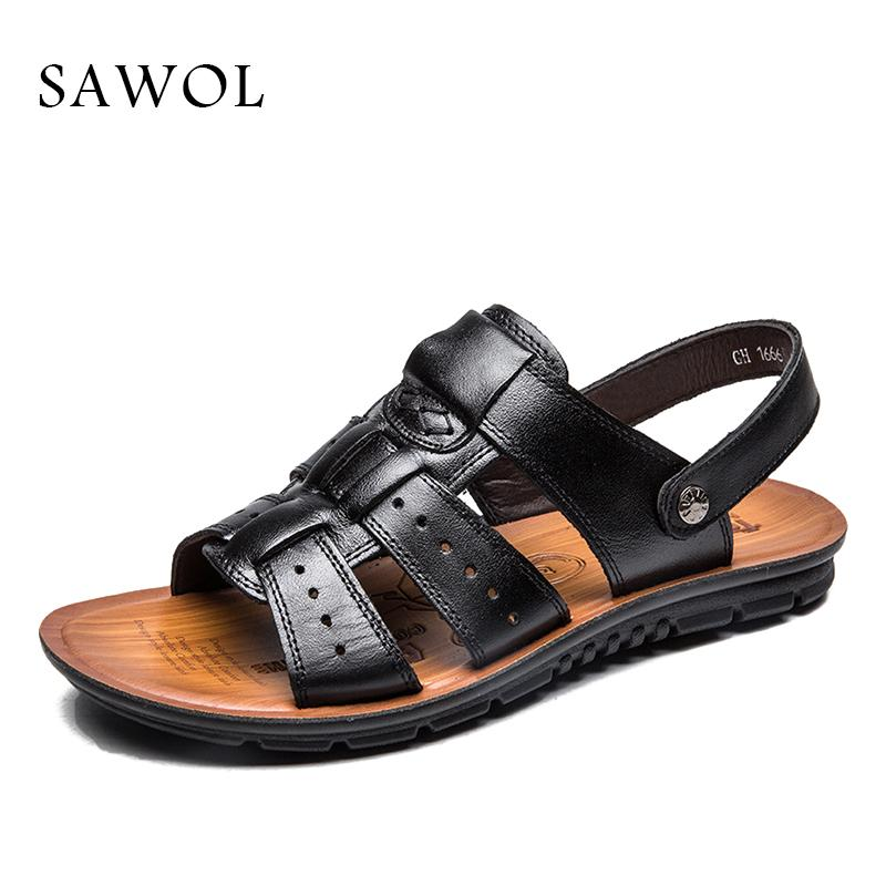 fa56e1c96b35 Sawol Men Sandals Genuine Split Leather Men Beach Sandals Brand ...