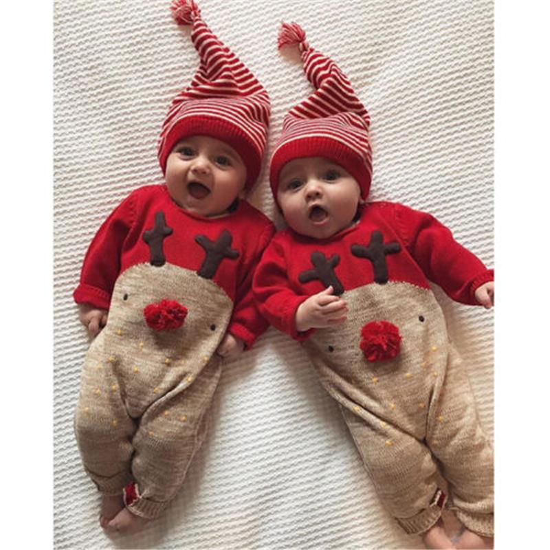 Acquista Cute Baby Vestiti Di Natale Neonato Manica Lunga In Cotone  Pagliaccetto Tuta + Cappello 2 Pezzi Di Natale Vestito Vestito Del Corpo  Abbigliamento ... 249eed0b20fd