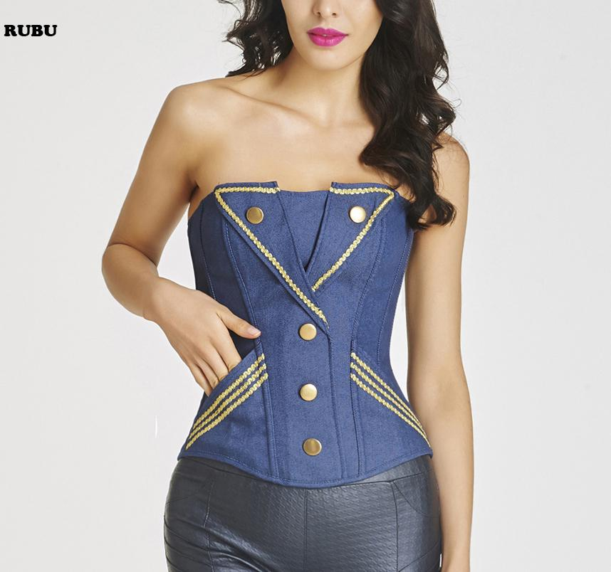 f064bfc296b 2016 New Jeans Blue Corselet Sexy Denim Corset Women S Corselet Strapless  Boned Corset And Bustiers With Thong Fast From Salom