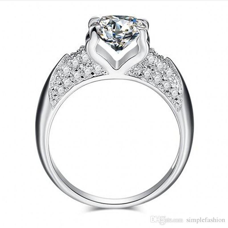 Vecalon El Yapımı Yeni 925 Ayar Gümüş yüzük Pave ayarı 5A Zirkon Cz Nişan düğün Band yüzükler kadınlar için Moda Takı