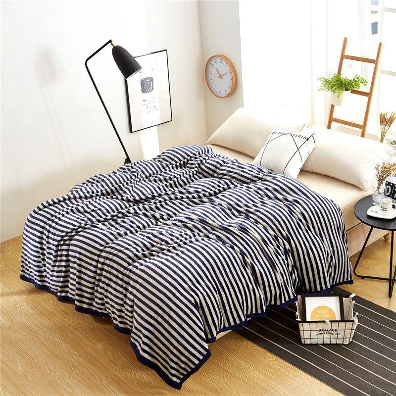Arnigu White Stripe Printed Soft Coral Fleece Blanket Sofa Throw
