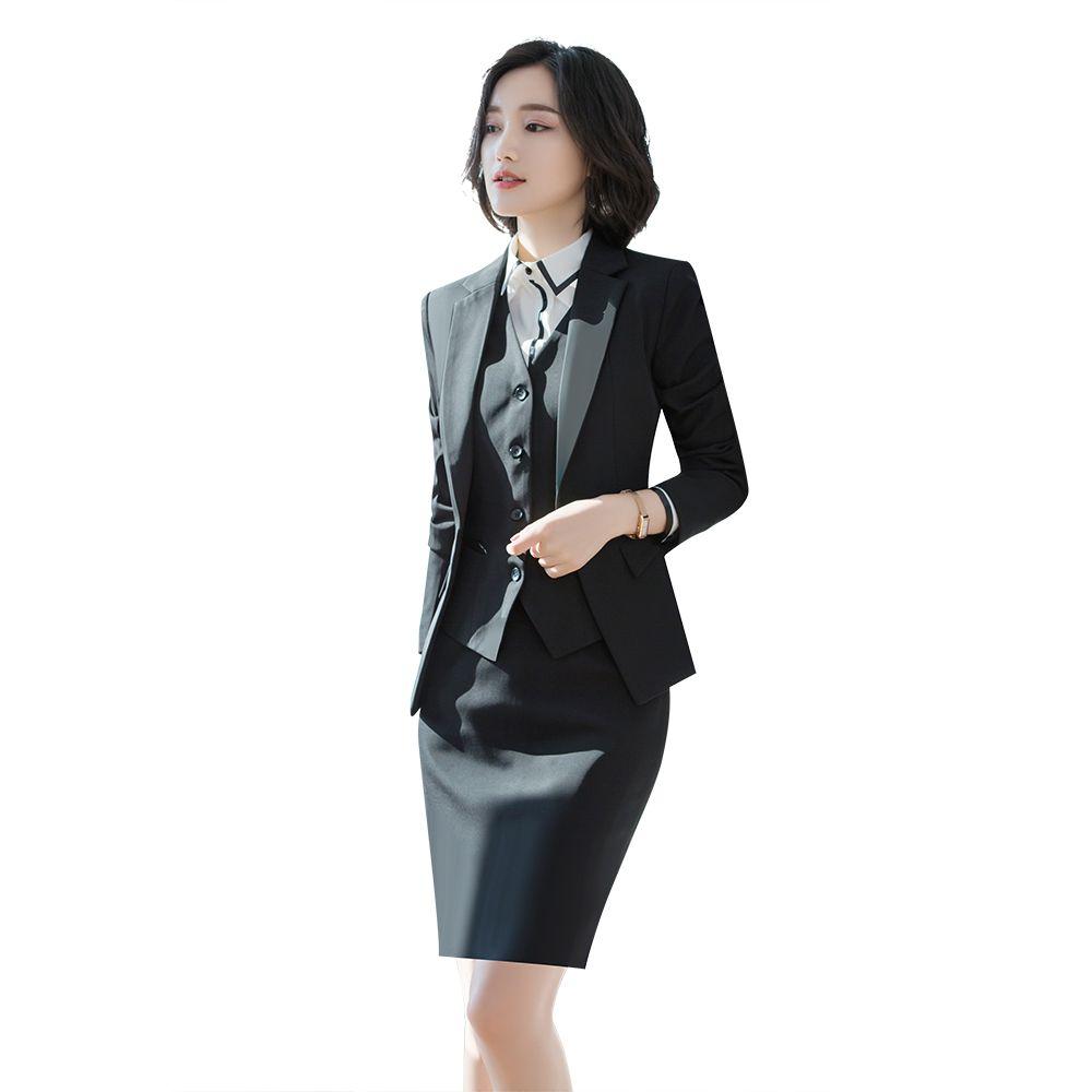 7cf8e29e351 2019 Women Office Dress Suits   Blazer Plus Size Slim Mini Pencil Dress  Black Blazer Two Piece Set Summer Bodycon Office Set From Marryone