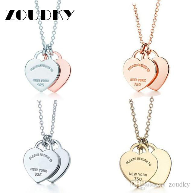 ZOUDKY 100% 925 Sterling Silver High Quality Products Necklaces Hearts Linked Together Elegant Female Jewelry Free Mail