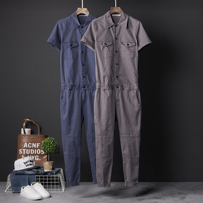 d2e2b400c7c9 2019 Japan Style Men Hiphop Denim Jumpsuit Casual Short Sleeve Jean Overalls  Vintage Outerwear Bib Harem Pants DJ Singer Costumes From Cutee