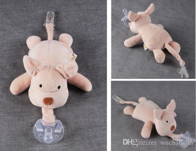10 Style Nuovo ciuccio animali in silicone con peluche giraffa girocollo elefante bambini neonato bambini I prodotti includono ciucci