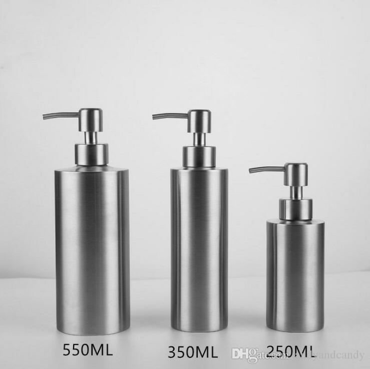 Liquid Soap Dispenser Bottle 304 Stainless Steel Countertop Kitchen Sink soap dispenser Chrome Soap Bottle 250ml/350ml/550ml Silver & 2019 Liquid Soap Dispenser Bottle 304 Stainless Steel Countertop ...