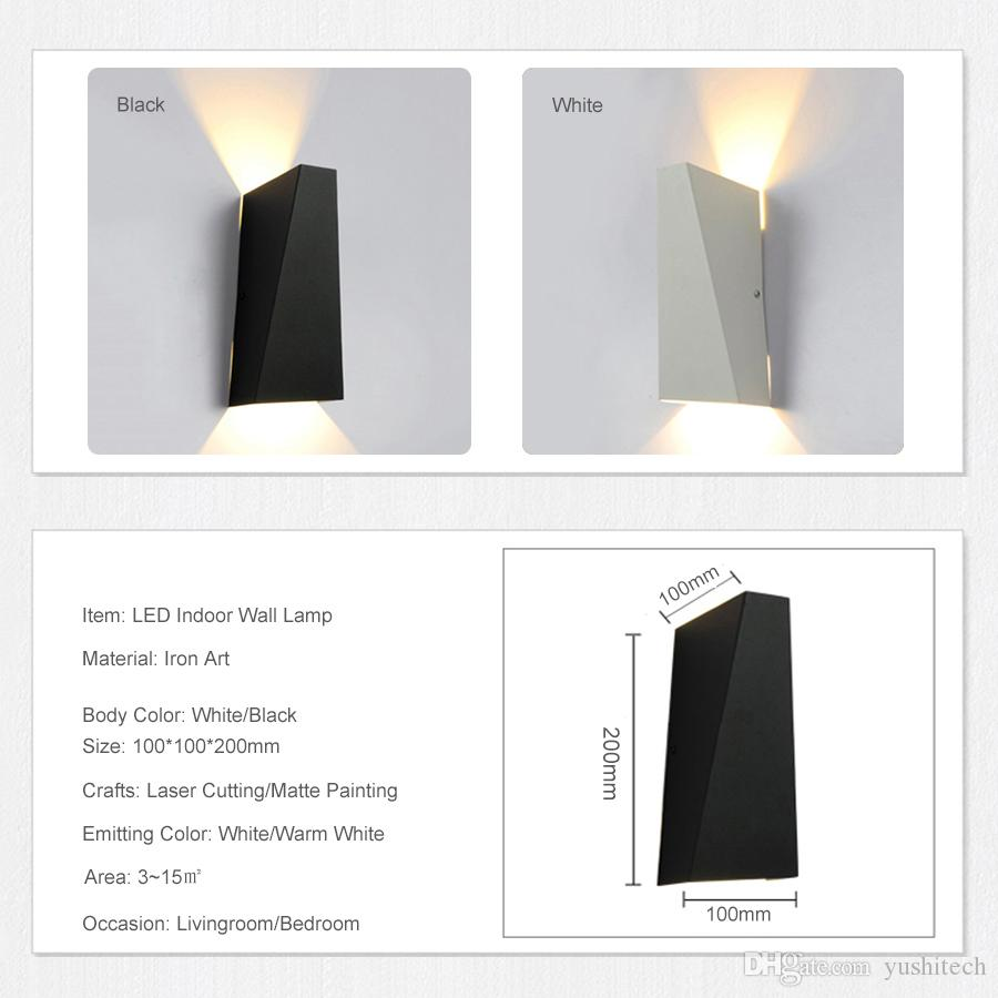 LED 10W Applique Fixture moderne Home Hôtel Bureau Décoration Lumière AC85-265V Sconce éclairage fer blanc chaud ou blanc