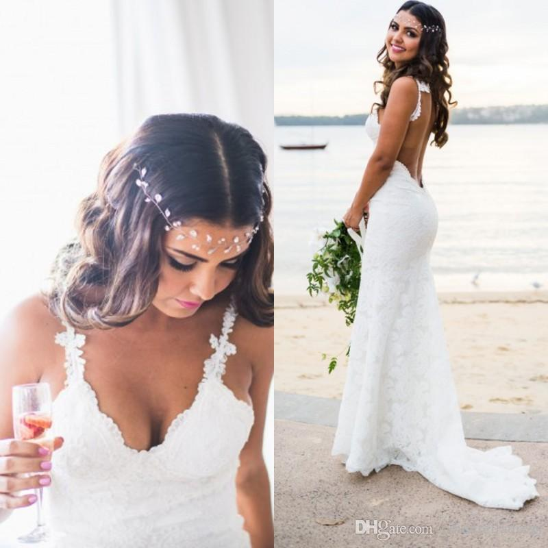e57c75363d 2018 Simple Katie May Bohemian Beach Wedding Dresses Novia Sexy Mermaid  Spaghetti Straps Floor Length Backless Full Lace Bridal Gowns BA7189 Canada  2019 ...