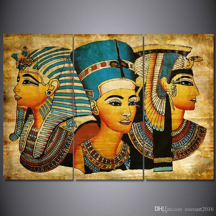 Satın Al 3 Panel Mısır Duvar Boyama Tuval Boyama Duvar Modüler