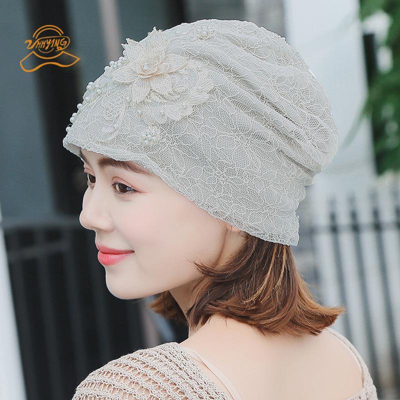 c870e1035ab22 Hats For Women Beanie Spring Autumn Knitted Hat Cap Lace Flower Skullies  Slouchy Beanie Bonnet Womens Turban Hat Gorros Sequins