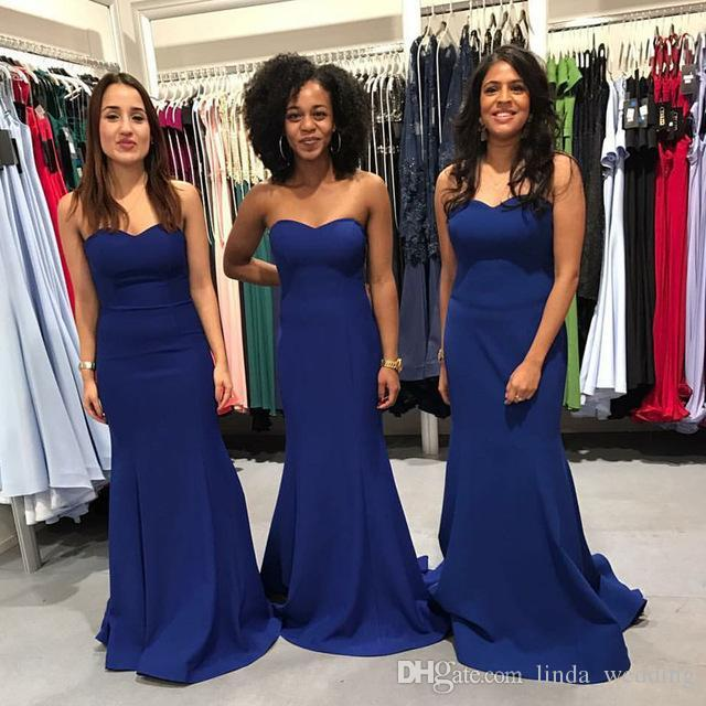 2019 Nuevo Royal Blue Bridesmaid Dress Western Summer Country Banquete de boda formal Invitada Maid of Honor Gata Más tamaño por encargo