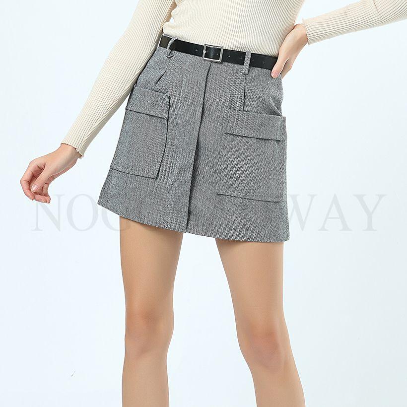 252faa53931 2019 High Waist Warm Tweed Mini Skirts Womens Winter Autumn Thick Woolen A  Line Short Skirt Zipper Pockets Slim Fashion Casual Saias From Candycloth