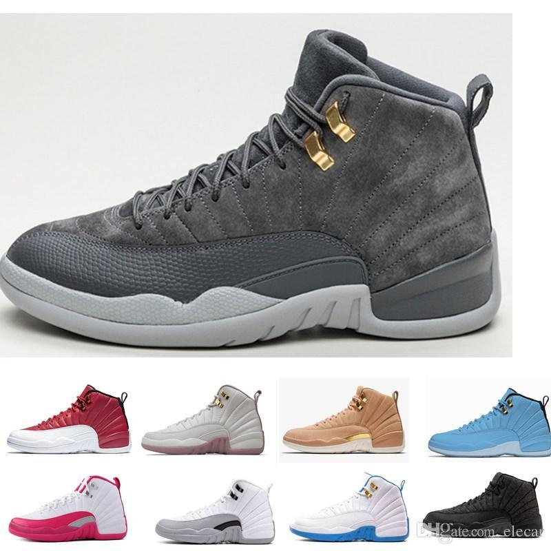 249620b909d51 Descuento Nuevo 12 Zapatos De Baloncesto De Corte Alto Para Hombres 12 S  Blanco Negro Lobo Gris Gris Barones Zapatillas De Deportes Para Hombre De  Gamuza ...