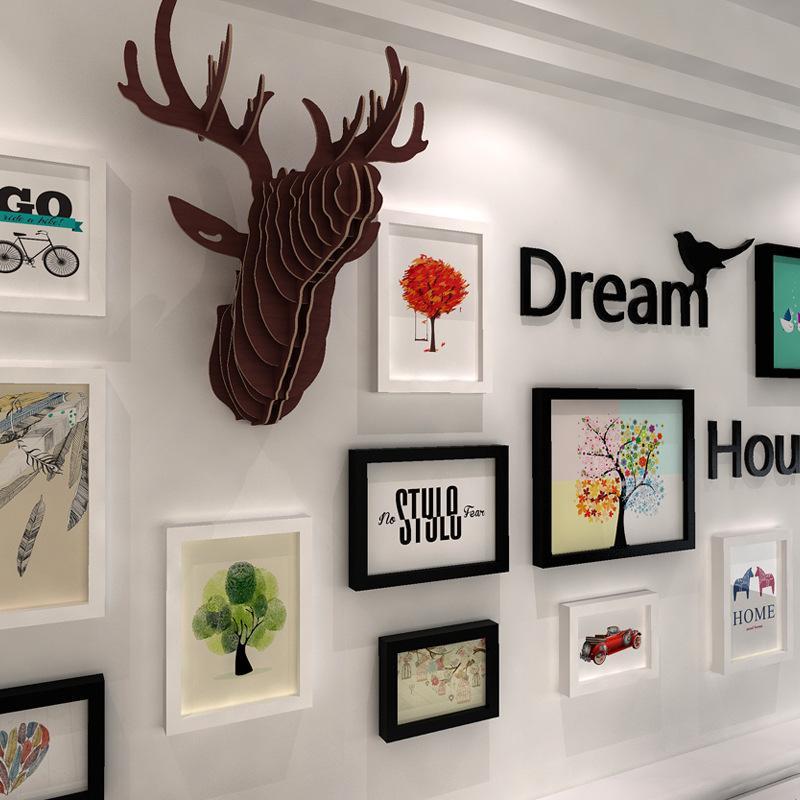 3d Wooden Wall Photo Frames Set Home Nursey Decoration European ...