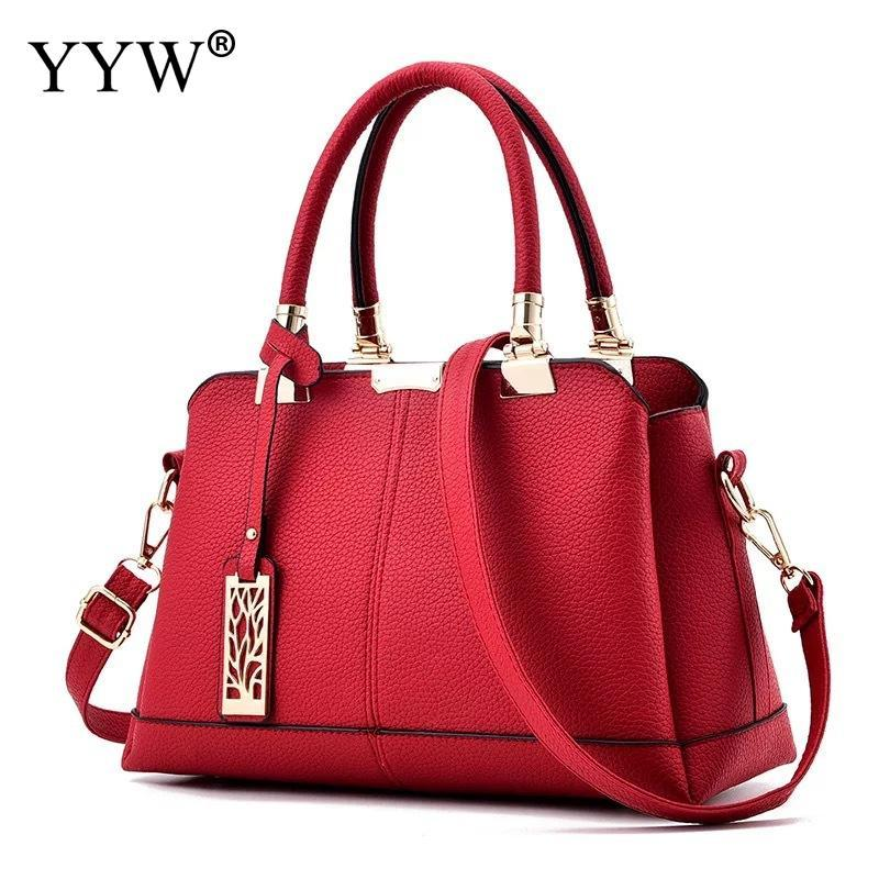5ca53ee0e6 New 2018 Large Capacity Women Handbag Totes Shoulder Bag Solid Pu Leather  Ladies Top Handle Hand Bags Office Work Formal Bag Red Designer Purses  Satchel ...