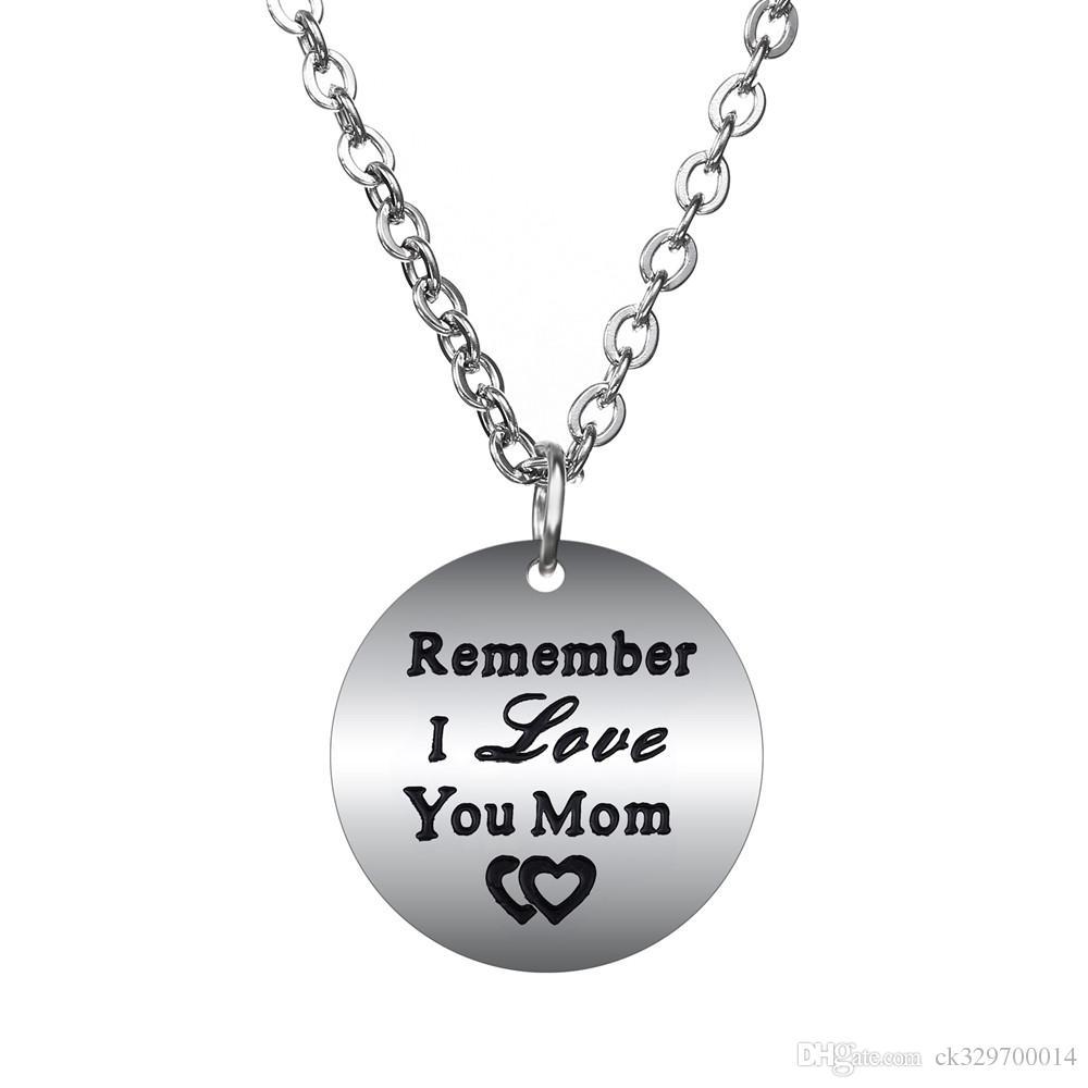 1b3602634207 Compre Venta Al Por Mayor 10 Unids   Lote Regalo De La Madre Recuerde Te  Amo Mamá Collar Colgante Para La Familia Amor Joyería De La Mamá A  19.98  Del ...