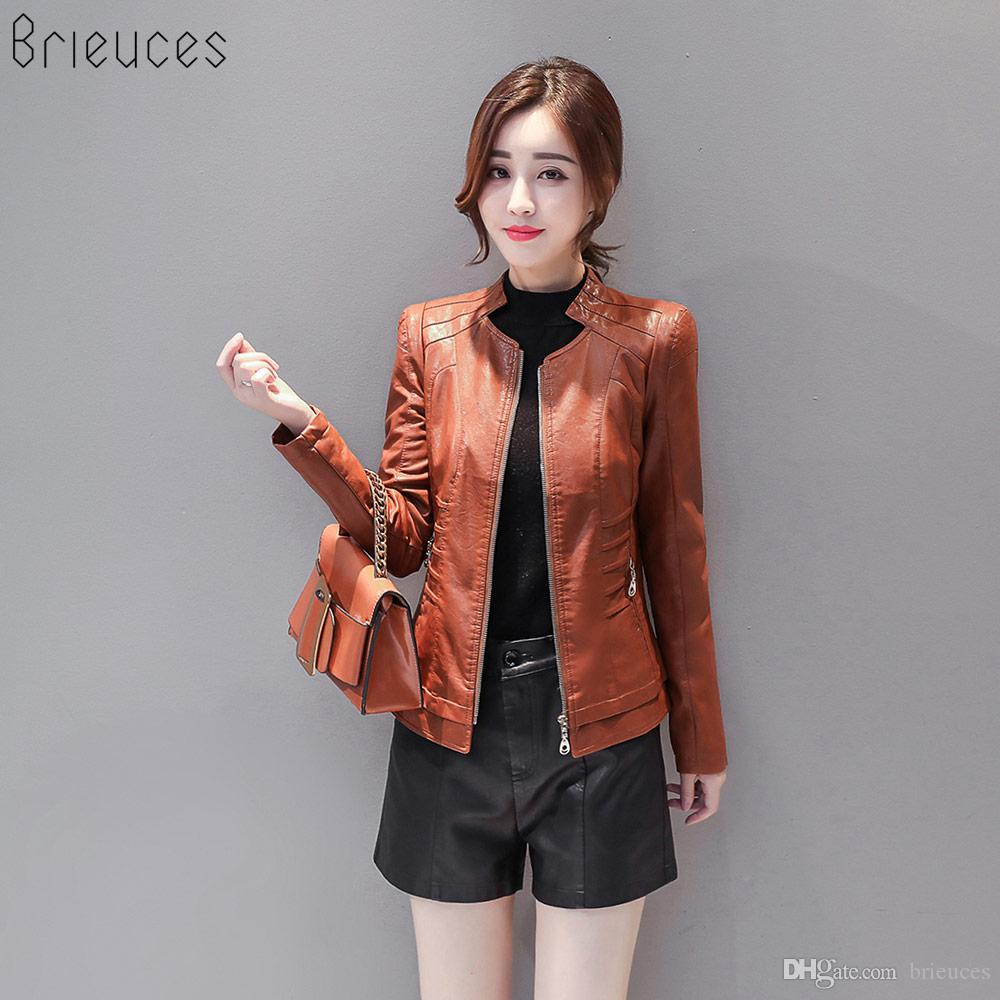 ff48be688c3 2019 Wholesale Brieuces Brand Motorcycle PU Leather Jacket Women Winter And Autumn  New Fashion Coat Zipper Outerwear Jacket New Coat From Brieuces