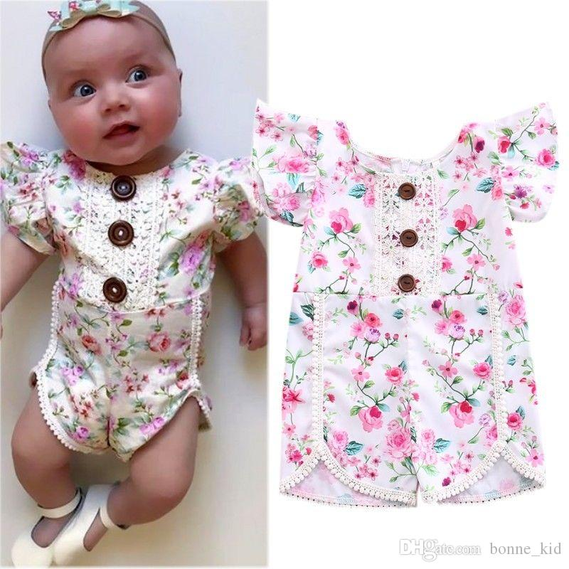 7e549993396f 2019 Boho Baby Girls Pink Floral Romper Jumpsuit Summer Baby Girl Clothing  Pajamas Roupas Onesies Cute Wholesale Toddler Boutique 0 24M From  Bonne kid