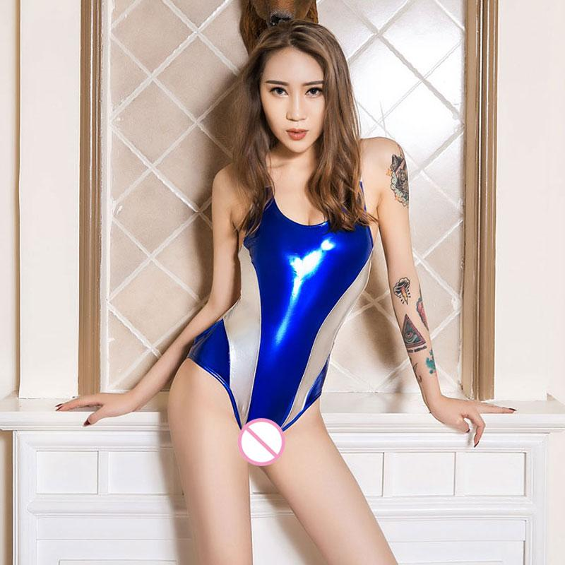 afbd49698d4 2019 Sexy Women Deep V Neck PU Shiny High Cut Bodysuit Thong Hollow Out  Backless Erotic Leotard Latex Catsuit Sexy Lingerie F17 From Erotogenic01