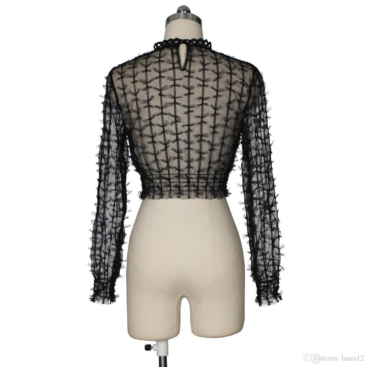 El más nuevo Diseñador de moda Bow Short Women T-Shirts 2018 Sexy Sheer Tulle de cuello alto Long Sleeves Fashion Lady Blusa Summer Tops and Tees