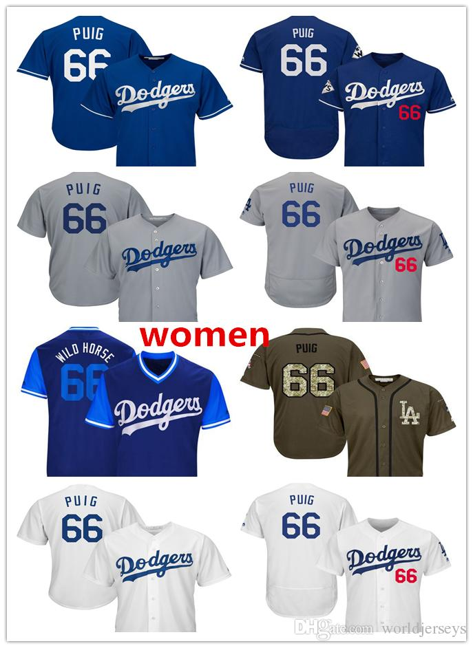 83020f29eb1 Womens Dodgers 66 Yasiel Puig Baseball Player Jerseys White Blue Gray Grey  Salute To Service All Star Players Weekend Online with  21.86 Piece on ...